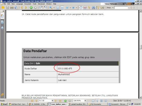 kode pendaftar