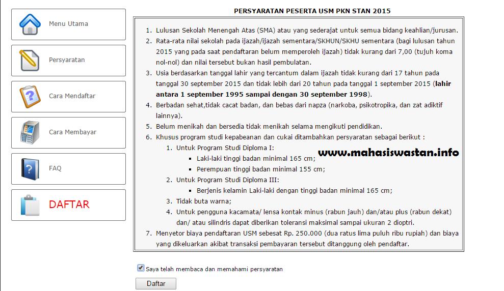 tata cara pendaftaran online usm pkn stan 2015